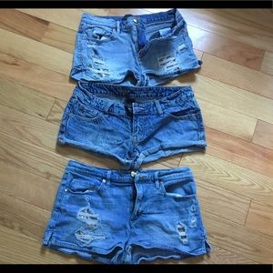 Bundle of 3 pair booty shorts pre owned size 4/27